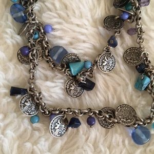 Silver Beaded and Medallion Necklace